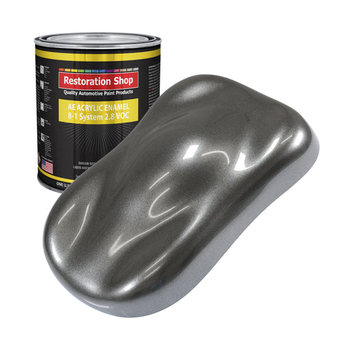 Meteor Gray Metallic Acrylic Enamel Auto Paint - Gallon Paint Color Only - Professional Single Stage High Gloss Automotive, Car, Truck, Equipment Coating, 2.8 VOC