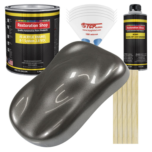 Tunnel Ram Gray Metallic Acrylic Enamel Auto Paint - Complete Gallon Paint Kit - Professional Single Stage High Gloss Automotive, Car Truck, Equipment Coating, 8:1 Mix Ratio 2.8 VOC