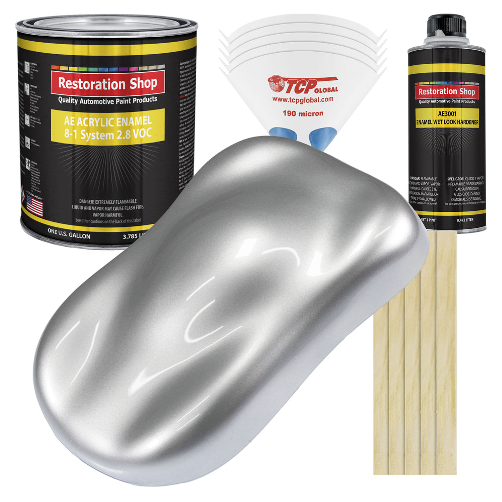 Iridium Silver Metallic Acrylic Enamel Auto Paint - Complete Gallon Paint Kit - Professional Single Stage High Gloss Automotive, Car Truck, Equipment Coating, 8:1 Mix Ratio 2.8 VOC