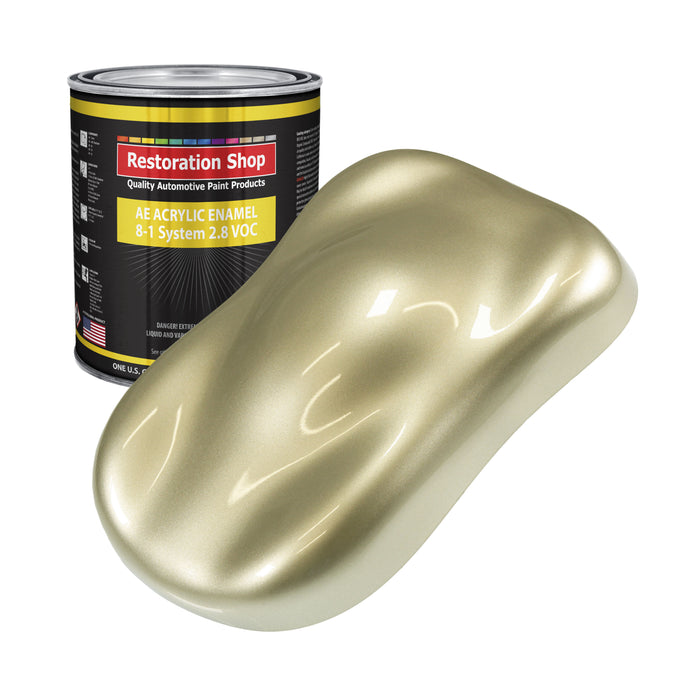 Antique Gold Metallic Acrylic Enamel Auto Paint - Gallon Paint Color Only - Professional Single Stage High Gloss Automotive, Car, Truck, Equipment Coating, 2.8 VOC