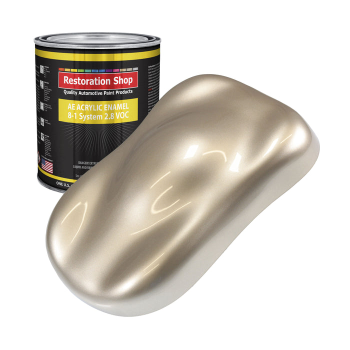 Cashmere Gold Metallic Acrylic Enamel Auto Paint - Gallon Paint Color Only - Professional Single Stage High Gloss Automotive, Car, Truck, Equipment Coating, 2.8 VOC