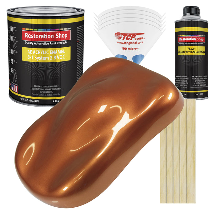 Malibu Sunset Orange Metallic Acrylic Enamel Auto Paint - Complete Gallon Paint Kit - Professional Single Stage High Gloss Automotive, Car Truck, Equipment Coating, 8:1 Mix Ratio 2.8 VOC