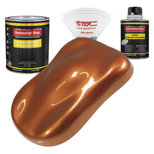 Malibu Sunset Orange Metallic Acrylic Enamel Auto Paint - Complete Quart Paint Kit - Professional Single Stage High Gloss Automotive, Car, Truck, Equipment Coating, 8:1 Mix Ratio 2.8 VOC