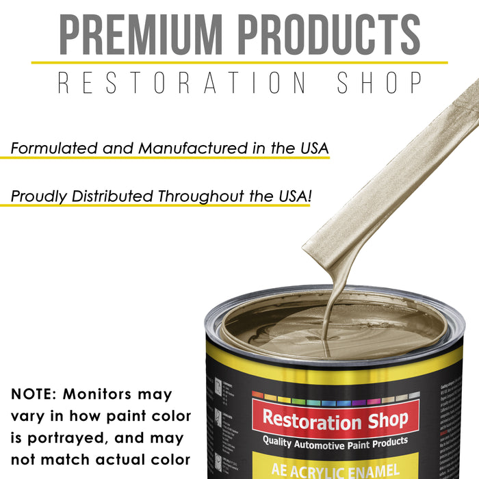 Driftwood Beige Metallic Acrylic Enamel Auto Paint - Complete Quart Paint Kit - Professional Single Stage High Gloss Automotive, Car, Truck, Equipment Coating, 8:1 Mix Ratio 2.8 VOC