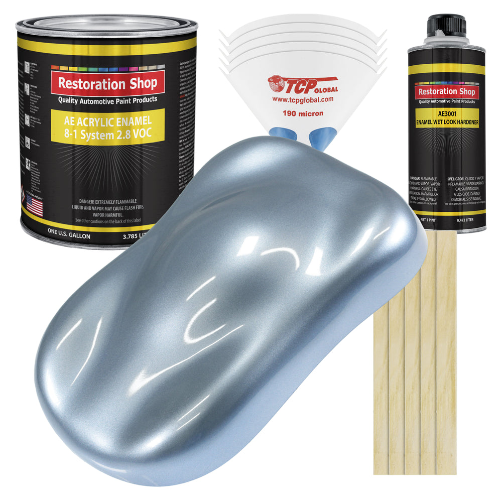 Glacier Blue Metallic Acrylic Enamel Auto Paint - Complete Gallon Paint Kit - Professional Single Stage High Gloss Automotive, Car Truck, Equipment Coating, 8:1 Mix Ratio 2.8 VOC