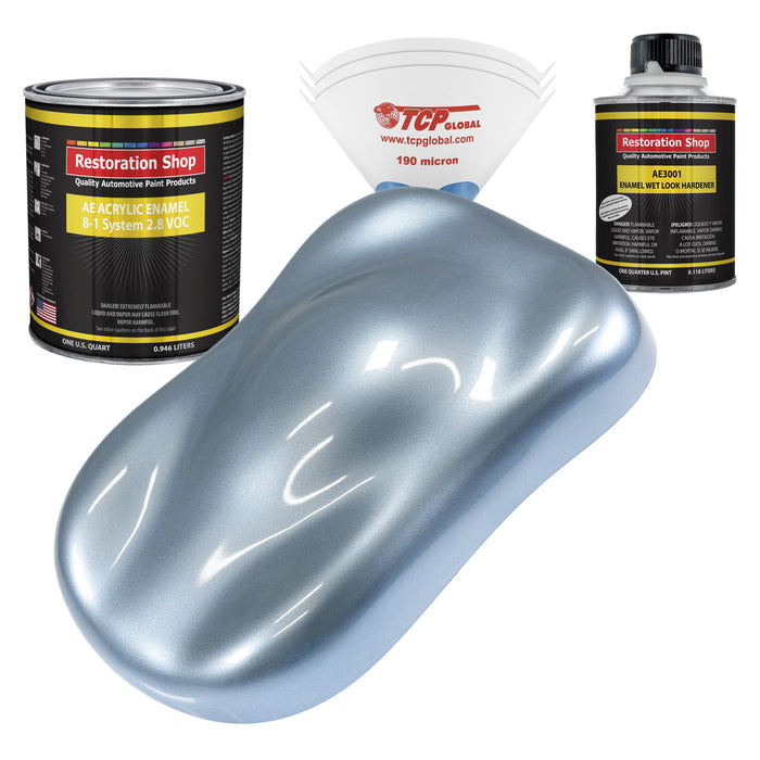 Glacier Blue Metallic Acrylic Enamel Auto Paint - Complete Quart Paint Kit - Professional Single Stage High Gloss Automotive, Car, Truck, Equipment Coating, 8:1 Mix Ratio 2.8 VOC