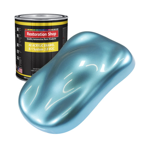 Azure Blue Metallic Acrylic Enamel Auto Paint - Gallon Paint Color Only - Professional Single Stage High Gloss Automotive, Car, Truck, Equipment Coating, 2.8 VOC