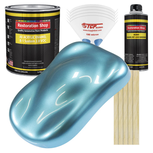 Azure Blue Metallic Acrylic Enamel Auto Paint - Complete Gallon Paint Kit - Professional Single Stage High Gloss Automotive, Car Truck, Equipment Coating, 8:1 Mix Ratio 2.8 VOC