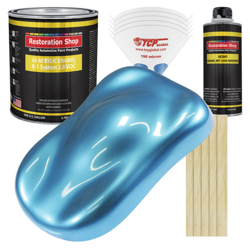 Electric Blue Metallic Acrylic Enamel Auto Paint - Complete Gallon Paint Kit - Professional Single Stage High Gloss Automotive, Car Truck, Equipment Coating, 8:1 Mix Ratio 2.8 VOC