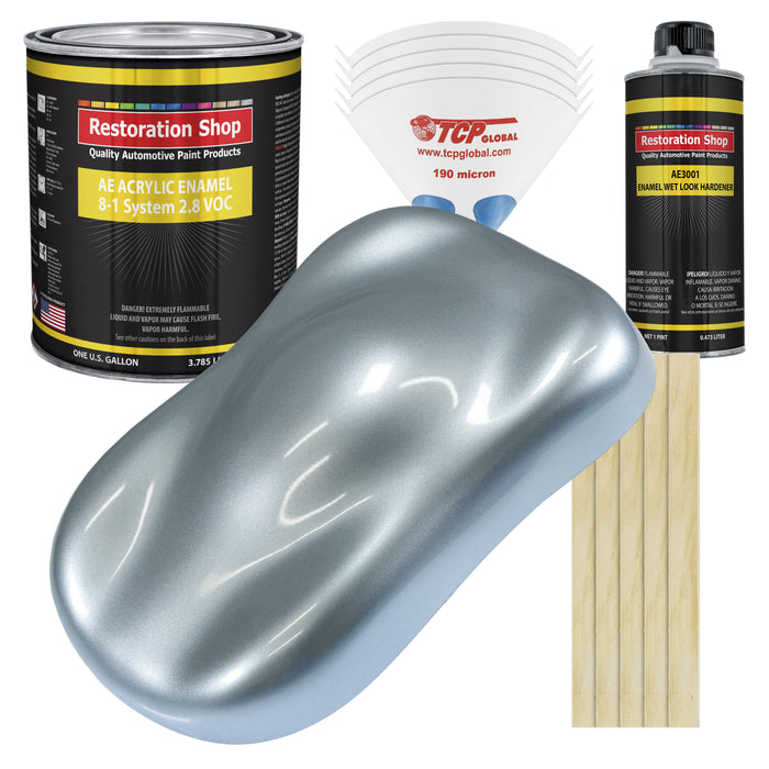 Ice Blue Metallic Acrylic Enamel Auto Paint - Complete Gallon Paint Kit - Professional Single Stage High Gloss Automotive, Car Truck, Equipment Coating, 8:1 Mix Ratio 2.8 VOC