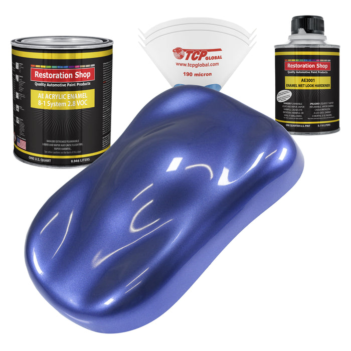 Indigo Blue Metallic Acrylic Enamel Auto Paint - Complete Quart Paint Kit - Professional Single Stage High Gloss Automotive, Car, Truck, Equipment Coating, 8:1 Mix Ratio 2.8 VOC