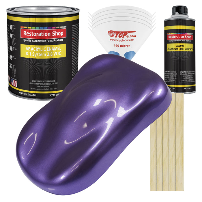 Plum Crazy Metallic Acrylic Enamel Auto Paint - Complete Gallon Paint Kit - Professional Single Stage High Gloss Automotive, Car Truck, Equipment Coating, 8:1 Mix Ratio 2.8 VOC