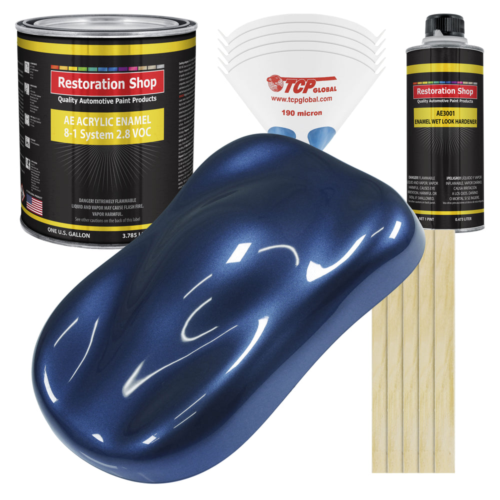 Sapphire Blue Metallic Acrylic Enamel Auto Paint - Complete Gallon Paint Kit - Professional Single Stage High Gloss Automotive, Car Truck, Equipment Coating, 8:1 Mix Ratio 2.8 VOC