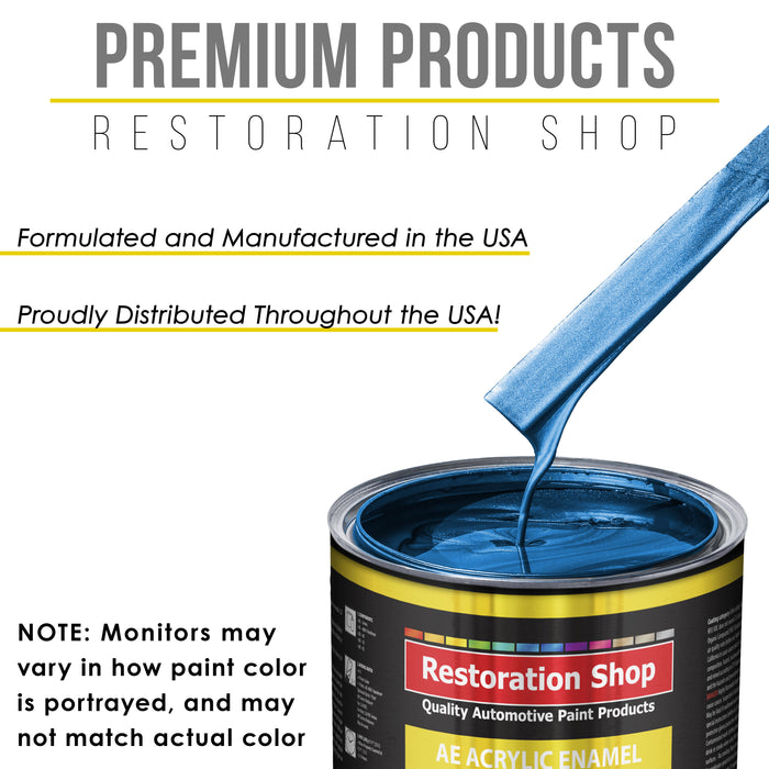 Fiji Blue Metallic Acrylic Enamel Auto Paint - Complete Quart Paint Kit - Professional Single Stage High Gloss Automotive, Car, Truck, Equipment Coating, 8:1 Mix Ratio 2.8 VOC