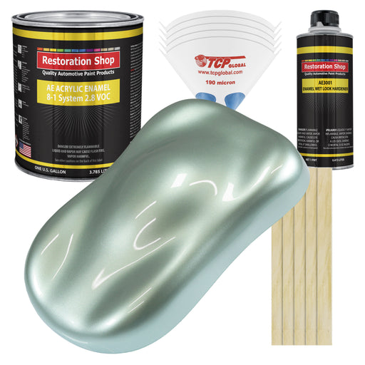 Frost Green Metallic Acrylic Enamel Auto Paint - Complete Gallon Paint Kit - Professional Single Stage High Gloss Automotive, Car Truck, Equipment Coating, 8:1 Mix Ratio 2.8 VOC