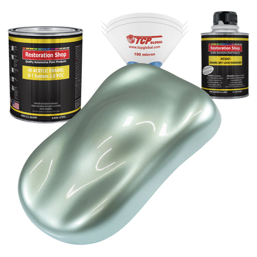 Frost Green Metallic Acrylic Enamel Auto Paint - Complete Quart Paint Kit - Professional Single Stage High Gloss Automotive, Car, Truck, Equipment Coating, 8:1 Mix Ratio 2.8 VOC