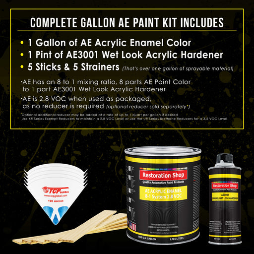 Silver Aqua Metallic Acrylic Enamel Auto Paint - Complete Gallon Paint Kit - Professional Single Stage High Gloss Automotive, Car Truck, Equipment Coating, 8:1 Mix Ratio 2.8 VOC