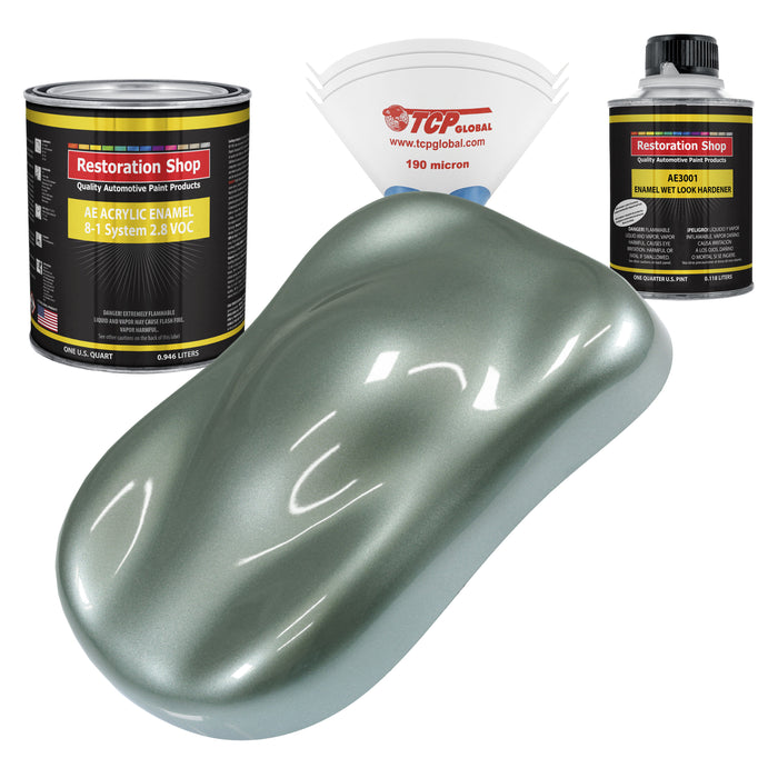Slate Green Metallic Acrylic Enamel Auto Paint - Complete Quart Paint Kit - Professional Single Stage High Gloss Automotive, Car, Truck, Equipment Coating, 8:1 Mix Ratio 2.8 VOC
