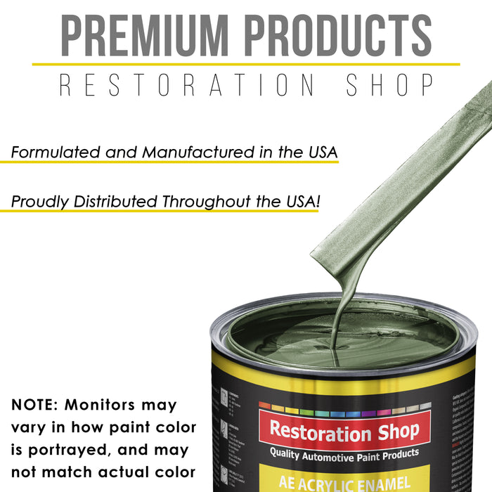 Fern Green Metallic Acrylic Enamel Auto Paint - Complete Gallon Paint Kit - Professional Single Stage High Gloss Automotive, Car Truck, Equipment Coating, 8:1 Mix Ratio 2.8 VOC