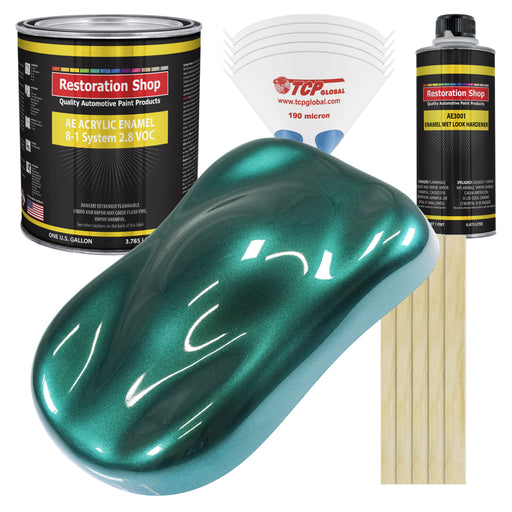 Dark Teal Metallic Acrylic Enamel Auto Paint - Complete Gallon Paint Kit - Professional Single Stage High Gloss Automotive, Car Truck, Equipment Coating, 8:1 Mix Ratio 2.8 VOC