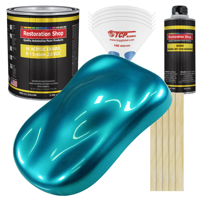 Teal Green Metallic Acrylic Enamel Auto Paint - Complete Gallon Paint Kit - Professional Single Stage High Gloss Automotive, Car Truck, Equipment Coating, 8:1 Mix Ratio 2.8 VOC