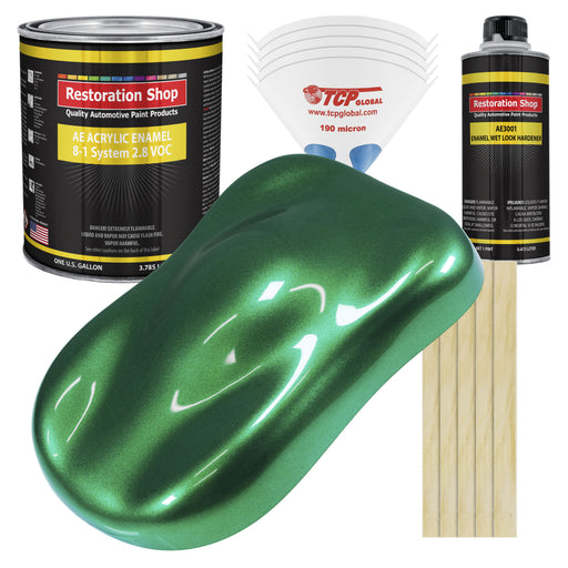 Emerald Green Metallic Acrylic Enamel Auto Paint - Complete Gallon Paint Kit - Professional Single Stage High Gloss Automotive, Car Truck, Equipment Coating, 8:1 Mix Ratio 2.8 VOC