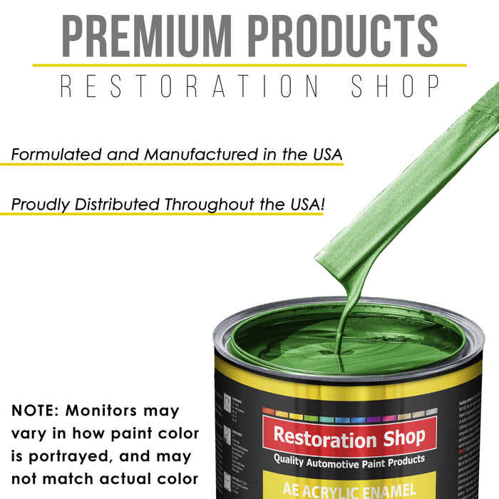Gasser Green Metallic Acrylic Enamel Auto Paint - Complete Gallon Paint Kit - Professional Single Stage High Gloss Automotive, Car Truck, Equipment Coating, 8:1 Mix Ratio 2.8 VOC