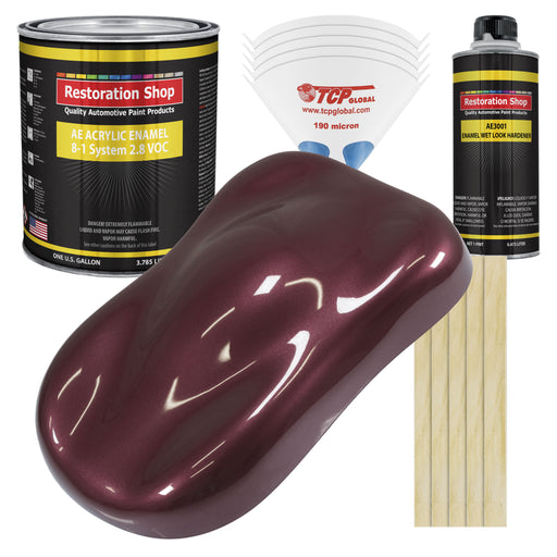 Vintage Burgundy Metallic Acrylic Enamel Auto Paint - Complete Gallon Paint Kit - Professional Single Stage High Gloss Automotive, Car Truck, Equipment Coating, 8:1 Mix Ratio 2.8 VOC