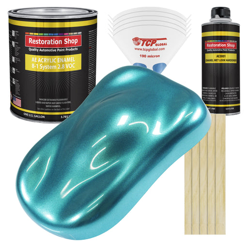 Aquamarine Firemist Acrylic Enamel Auto Paint - Complete Gallon Paint Kit - Professional Single Stage High Gloss Automotive, Car Truck, Equipment Coating, 8:1 Mix Ratio 2.8 VOC