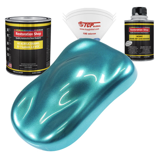 Aquamarine Firemist Acrylic Enamel Auto Paint - Complete Quart Paint Kit - Professional Single Stage High Gloss Automotive, Car, Truck, Equipment Coating, 8:1 Mix Ratio 2.8 VOC