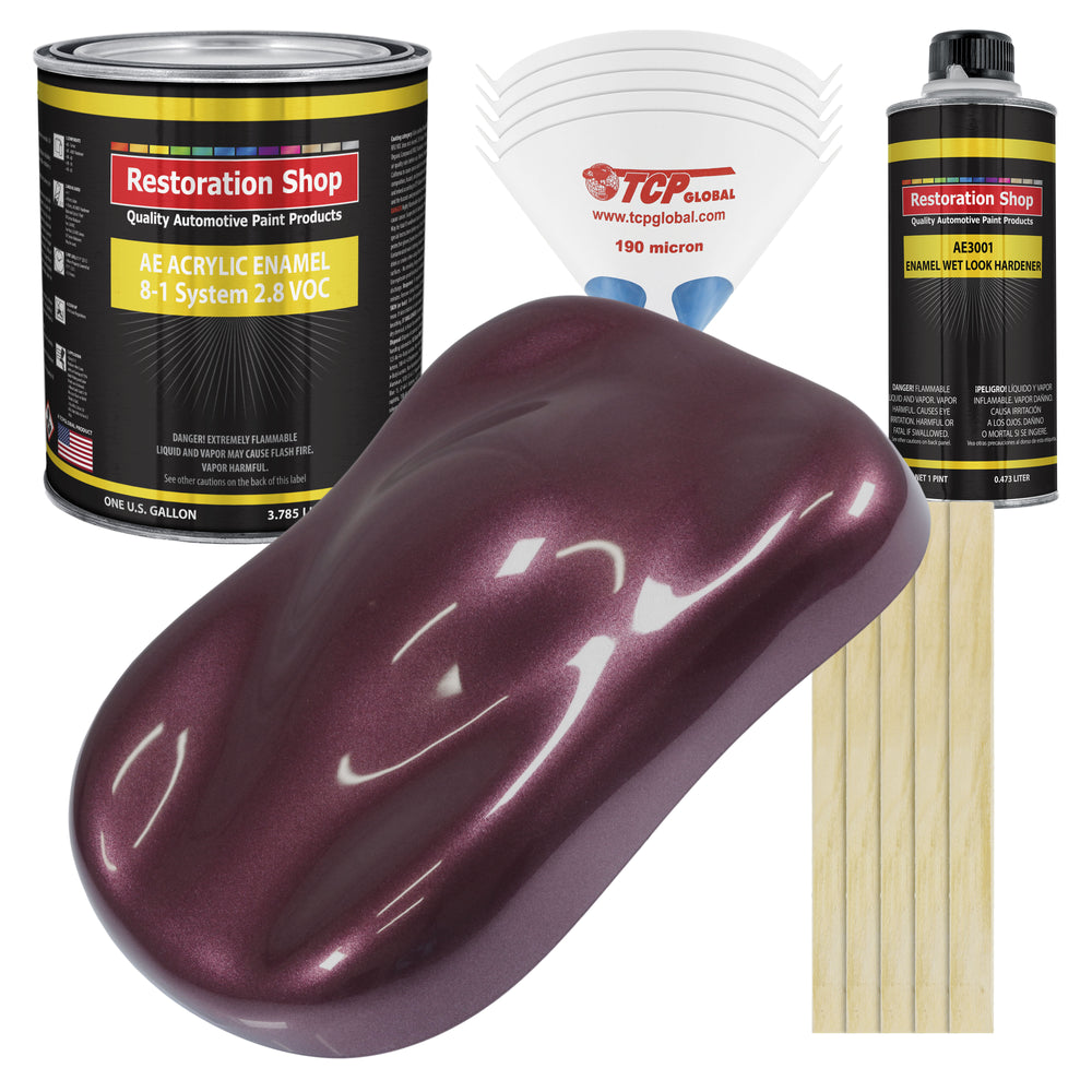 Milano Maroon Firemist Acrylic Enamel Auto Paint - Complete Gallon Paint Kit - Professional Single Stage High Gloss Automotive, Car Truck, Equipment Coating, 8:1 Mix Ratio 2.8 VOC
