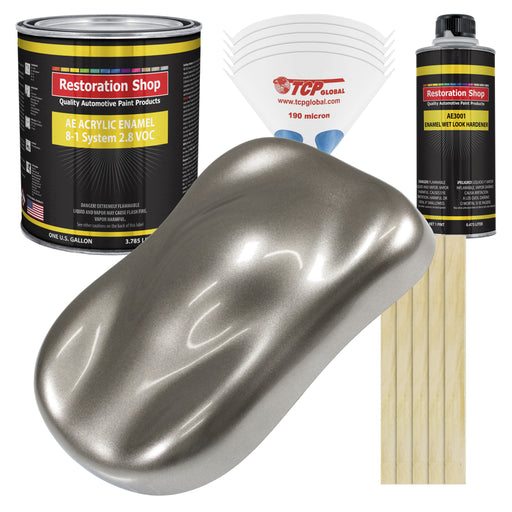 Firemist Pewter Silver Acrylic Enamel Auto Paint - Complete Gallon Paint Kit - Professional Single Stage High Gloss Automotive, Car Truck, Equipment Coating, 8:1 Mix Ratio 2.8 VOC