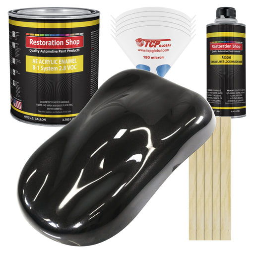 Black Diamond Firemist Acrylic Enamel Auto Paint - Complete Gallon Paint Kit - Professional Single Stage High Gloss Automotive, Car Truck, Equipment Coating, 8:1 Mix Ratio 2.8 VOC