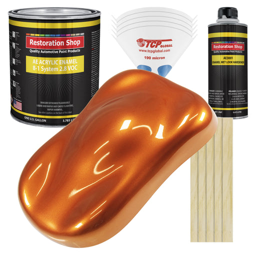 Firemist Orange Acrylic Enamel Auto Paint - Complete Gallon Paint Kit - Professional Single Stage High Gloss Automotive, Car Truck, Equipment Coating, 8:1 Mix Ratio 2.8 VOC