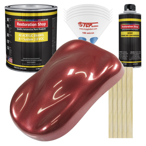 Firemist Red Acrylic Enamel Auto Paint - Complete Gallon Paint Kit - Professional Single Stage High Gloss Automotive, Car Truck, Equipment Coating, 8:1 Mix Ratio 2.8 VOC