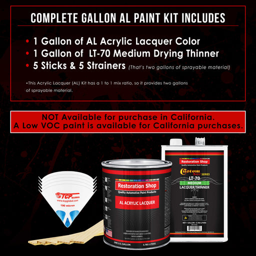 Pure White - Acrylic Lacquer Auto Paint - Complete Gallon Paint Kit with Medium Thinner - Professional Gloss Automotive, Car, Truck, Guitar & Furniture Refinish Coating