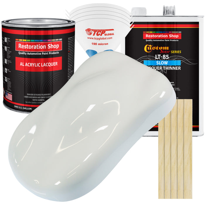 Pure White - Acrylic Lacquer Auto Paint - Complete Gallon Paint Kit with Slow Dry Thinner - Professional Gloss Automotive, Car, Truck, Guitar, Furniture Refinish Coating