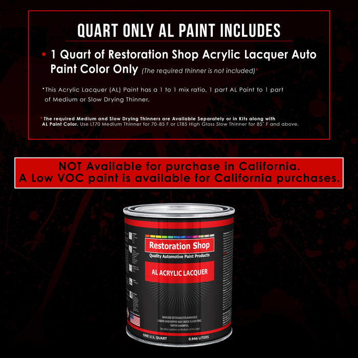 Grand Prix White - Acrylic Lacquer Auto Paint - Quart Paint Color Only - Professional Gloss Automotive, Car, Truck, Guitar & Furniture Refinish Coating