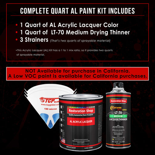 Fleet White - Acrylic Lacquer Auto Paint - Complete Quart Paint Kit with Medium Thinner - Professional Gloss Automotive, Car, Truck, Guitar and Furniture Refinish Coating