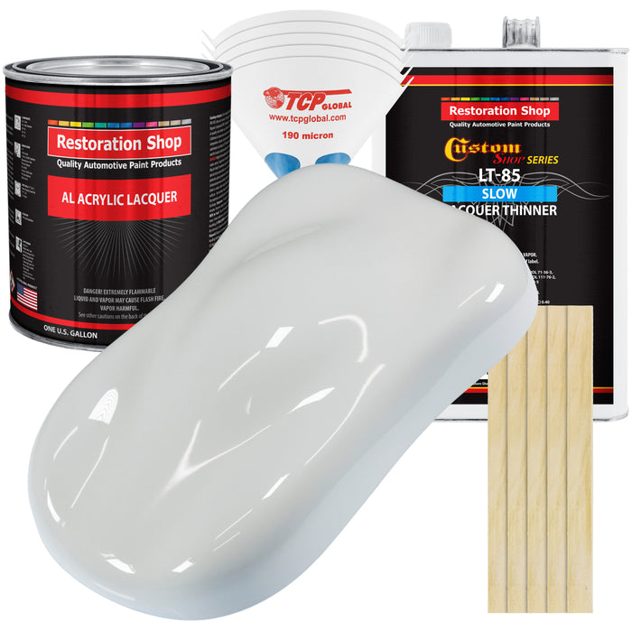 Championship White - Acrylic Lacquer Auto Paint - Complete Gallon Paint Kit with Slow Dry Thinner - Professional Gloss Automotive, Car, Truck, Guitar, Furniture Refinish Coating