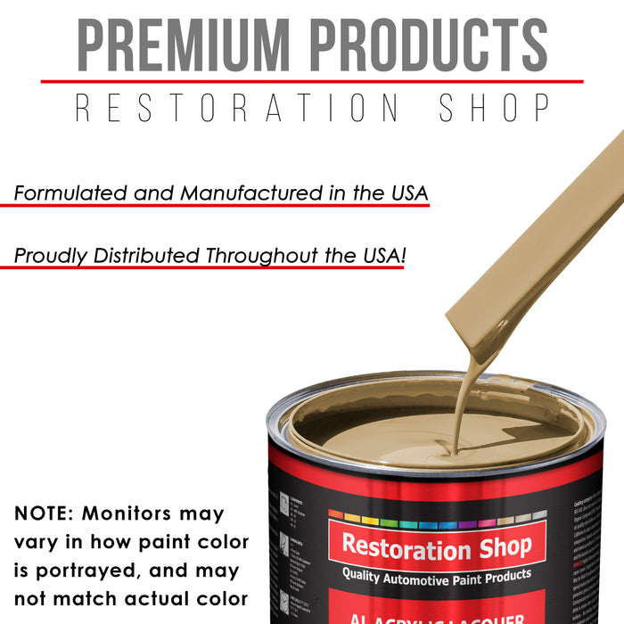 Shoreline Beige - Acrylic Lacquer Auto Paint - Complete Quart Paint Kit with Medium Thinner - Professional Gloss Automotive, Car, Truck, Guitar and Furniture Refinish Coating