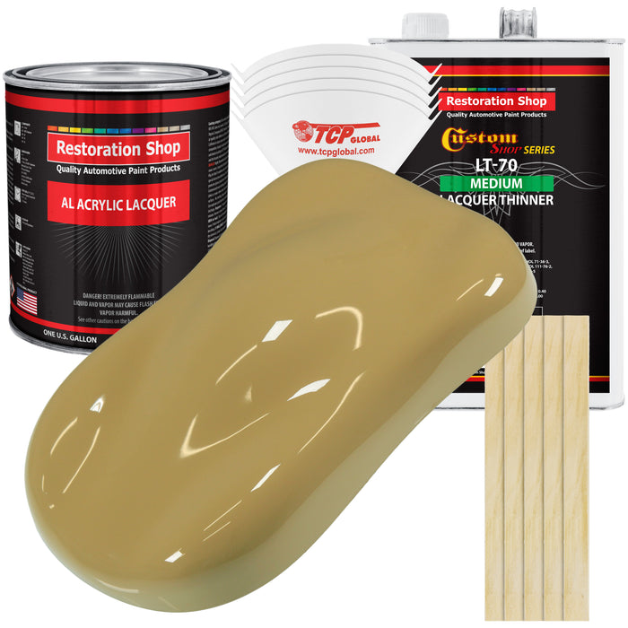 Buckskin Tan - Acrylic Lacquer Auto Paint - Complete Gallon Paint Kit with Medium Thinner - Professional Gloss Automotive, Car, Truck, Guitar & Furniture Refinish Coating
