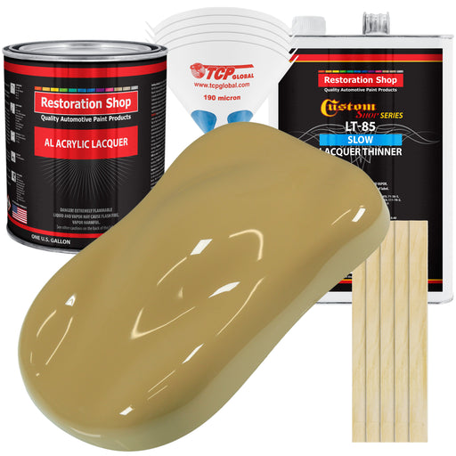 Buckskin Tan - Acrylic Lacquer Auto Paint - Complete Gallon Paint Kit with Slow Dry Thinner - Professional Gloss Automotive, Car, Truck, Guitar, Furniture Refinish Coating