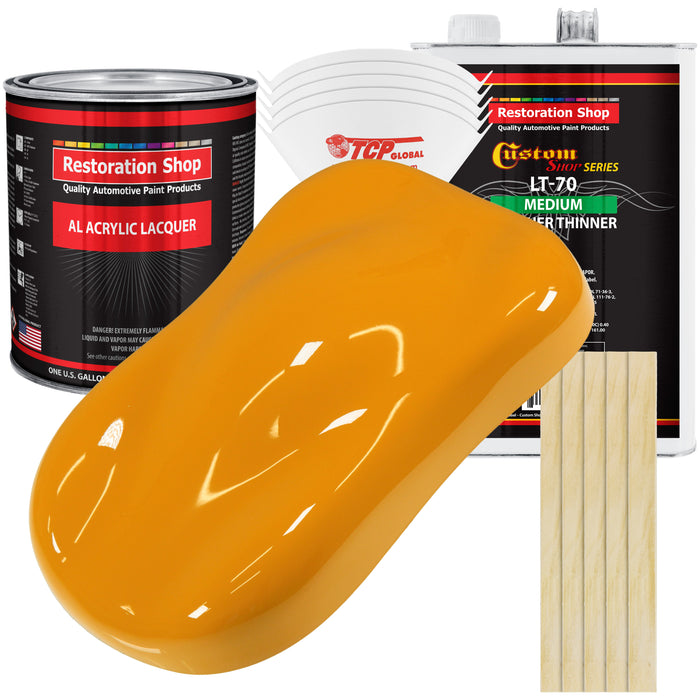 School Bus Yellow - Acrylic Lacquer Auto Paint - Complete Gallon Paint Kit with Medium Thinner - Professional Gloss Automotive, Car, Truck, Guitar & Furniture Refinish Coating
