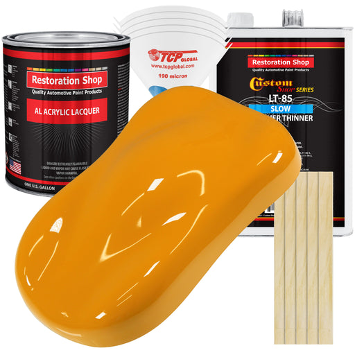 School Bus Yellow - Acrylic Lacquer Auto Paint - Complete Gallon Paint Kit with Slow Dry Thinner - Professional Gloss Automotive, Car, Truck, Guitar, Furniture Refinish Coating