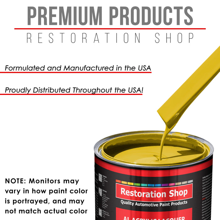 Electric Yellow - Acrylic Lacquer Auto Paint - Complete Gallon Paint Kit with Medium Thinner - Professional Gloss Automotive, Car, Truck, Guitar & Furniture Refinish Coating