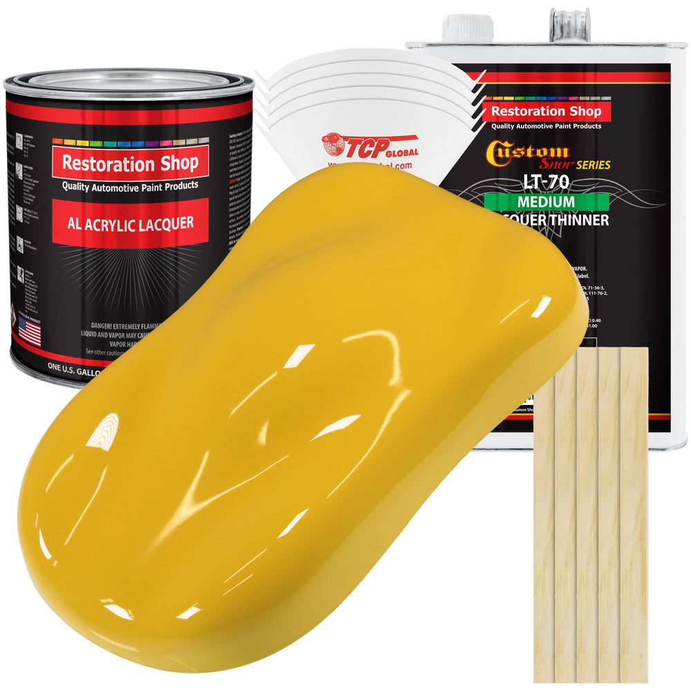Canary Yellow - Acrylic Lacquer Auto Paint - Complete Gallon Paint Kit with Medium Thinner - Professional Gloss Automotive, Car, Truck, Guitar & Furniture Refinish Coating