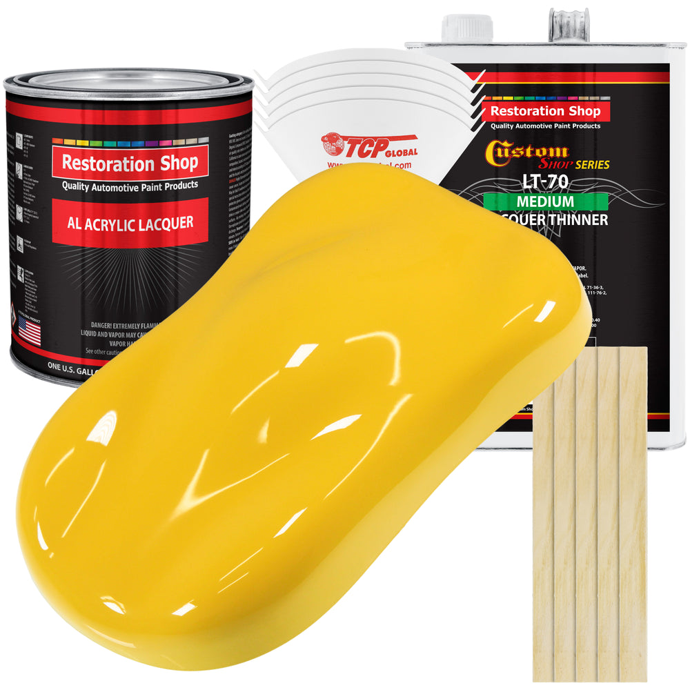 Sunshine Yellow - Acrylic Lacquer Auto Paint - Complete Gallon Paint Kit with Medium Thinner - Professional Gloss Automotive, Car, Truck, Guitar & Furniture Refinish Coating