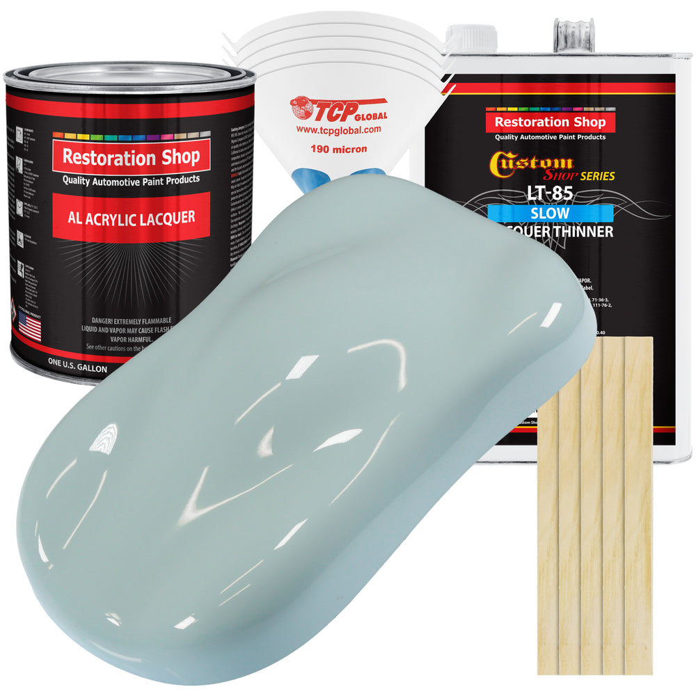 Diamond Blue - Acrylic Lacquer Auto Paint - Complete Gallon Paint Kit with Slow Dry Thinner - Professional Gloss Automotive, Car, Truck, Guitar, Furniture Refinish Coating