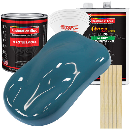 Medium Blue - Acrylic Lacquer Auto Paint - Complete Gallon Paint Kit with Medium Thinner - Professional Gloss Automotive, Car, Truck, Guitar & Furniture Refinish Coating